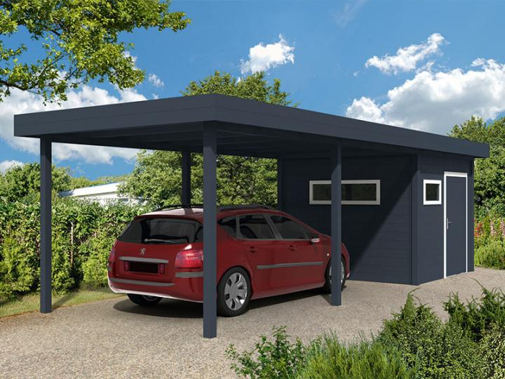 karibu 73092 eco carport mit integriertem abstellraum klein mit flachdach doppelcarport eco 2. Black Bedroom Furniture Sets. Home Design Ideas