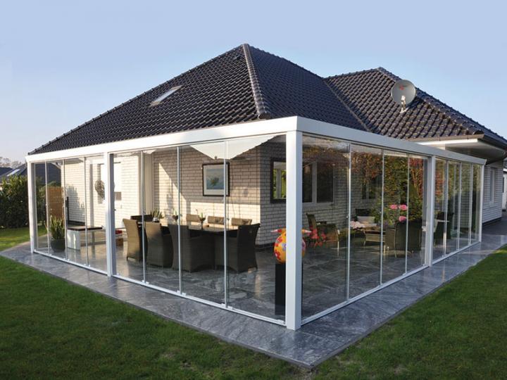 glasschiebewandsystem 700 x 210 cm 8 mm geh rtetes glas esg pfostenprofile laufschienen. Black Bedroom Furniture Sets. Home Design Ideas